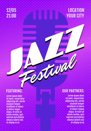 Jazz band music live festival show poster or invitation flyer cover design template. Retro microphone on purple background. Musical concert print vector illustration A3 A4