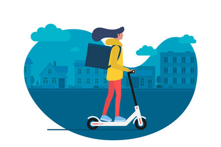 Delivery young female courier riding electric kick scooter with package product box. Fast shipping service concept on city street. Vector illustration active hipster adult millennial on cityscape