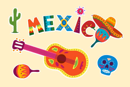 Bright colorful stylish traditional Mexican vector illustration about Mexico. Decorative symbol collection of skull flower guitar maracas sombrero. Original latino design illustration 일러스트