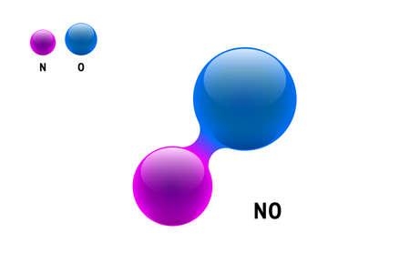 Chemistry model molecule nitrogen oxide NO scientific element formula. Integrated particles natural inorganic 3d nitric oxygen monoxide molecular structure consisting. Two volume atom vector spheres Ilustrace