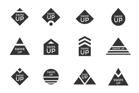 Swipe up story button icon set. Application and social network scroll arrow pictogram for fashion blogger stories or web design ui ux interface. Vector flat modern black style blog story illustration