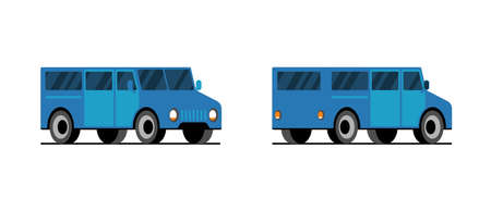 Blue minibus side back front view. Delivery minivan car. Vector transport vehicle illustration