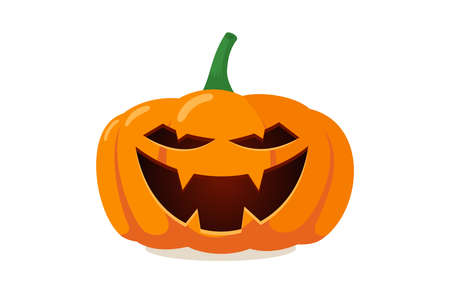 Scary spooky pumpkin jack o lantern with creepy ghost smile. Traditional happy halloween holiday celebration horror decoration evil symbol. Flat vector illustration isolated on white background Ilustración de vector