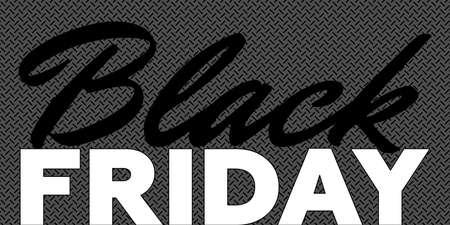 Black Friday sale promotion poster. Commercial discount event banner. Background textured with inscription. Vector advertising business illustration Ilustração