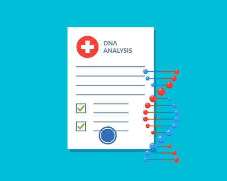 DNA analysis test result document checklist blank with molecular structure deoxyribonucleic acid spiral. Medical lab patient scientific report page. Genetic information vector blue color illustration