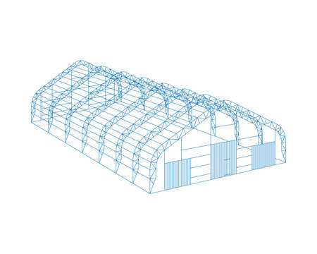 Awning tarpaulin tent temporary warehouse exhibition tunnel hall aircraft hangar project. Barn construction building wireframe carcass structure. Clear cut frame. Vector isometric illustration
