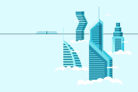 Detailed future city with different architecture high buildings skyscrapers apartments above clouds. Futuristic cityscape town and monorail train. Vector real estate construction over sky illustration