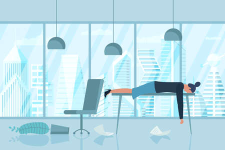 Professional burnout syndrome. Exhausted sick tired female manager in office sad boring lies with head down on table. Frustrated worker mental health problems. Vector long work stress day illustration