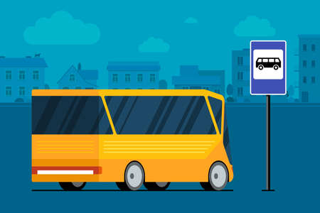 Yellow modern city bus on cityscape road near bus stop station sign. Public transport concept. Vector flat illustration for passenger transportation traffic service