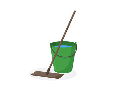 Mop and green bucket with water vector illustration. Wet floor cleaning service equipment isolated flat icon Ilustracja
