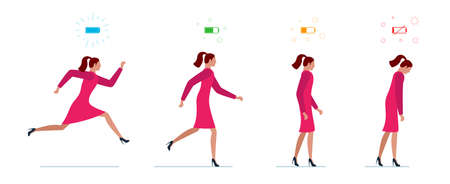 Life energy full and tired businesswoman. Powerful person with high charge and uncharged battery level indicators. Worker female concept. Business woman running and low power weak walking illustration Ilustração