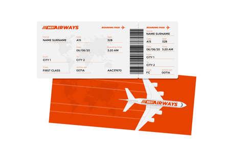 Modello di progettazione della carta d'imbarco del biglietto aereo realistico con nome del passeggero e codice a barre. Illustrazione vettoriale del documento di colore rosso del viaggio aereo in aereo Vettoriali
