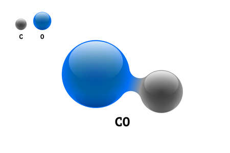 Chemistry model molecule carbon monoxide CO scientific element formula. Integrated particles natural inorganic 3d molecular structure consisting. Two carbon and oxygen volume atom vector spheres 向量圖像