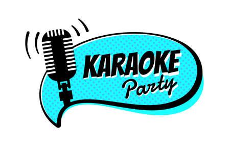 Karaoke night party script on comic strip speech bubble emblem. Stage retro vintage microphone vector illustration entertainment symbol template Stock Illustratie