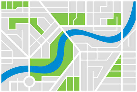 Generic imaginary city street map plan with river. Vector colorful town illustration schema