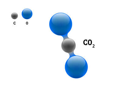 Chemistry model molecule carbon dioxide CO2 scientific element formula. Integrated particles natural inorganic 3d molecular structure consisting. Two oxygen and carbon volume atom vector spheres