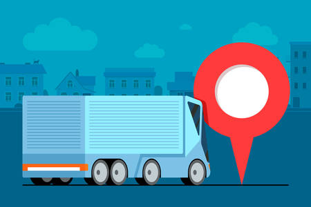 Modern cargo truck trailer logistic near geotag gps navigator location pin icon on urban city road. Business transport tracking delivery monitoring service concept. Shipping vehicle illustration  イラスト・ベクター素材