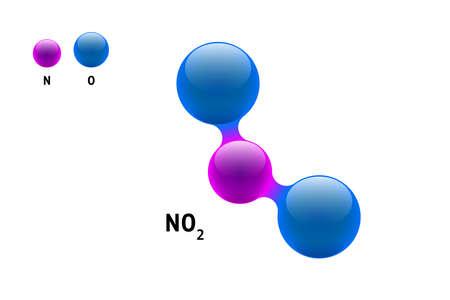 Chemiemodell Molekül Stickstoffdioxid NO2 wissenschaftliche Elementformel. Integrierte Partikel natürliche anorganische 3D-Molekülstruktur bestehend. Zwei Sauerstoff- und Azot-Volumenatom-eps-Vektorkugeln