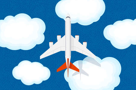 Large jet passenger airplane flies above sky clouds and sea with ripples. Civil aviation flying plane top view. Flat vector illustration