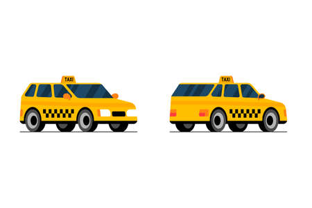 Taxi car front and back side perpective view. Yellow cab city service transport set flat vector cartoon style illustration