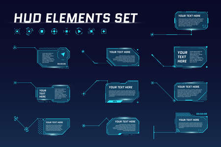 HUD digital futuristic callout title set. Call out sci fi frame bar labels. Presentation or infographic modern digital info box layout templates. Interface HUD UI GUI element. Vector illustration Vektorové ilustrace