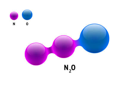 Chemistry model molecule nitrogen oxide N2O scientific element formula. Integrated particles natural inorganic 3d molecular structure consisting. Two nitrous azote and oxygen volume atom vector sphere