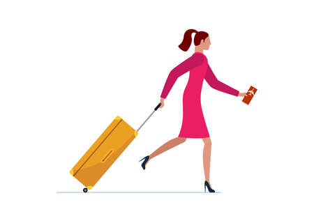 Young woman running with suitcase and flight ticket. Female in dress with luggage bag hurrying boarding to plane or missing flight. Tourist traveling concept vector illustration Vettoriali
