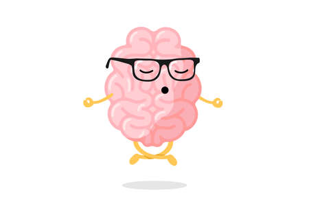 Cute cartoon smart human brain character with glasses relaxation meditate concept. Central nervous system organ meditation in lotus yoga pose. Funny relax concept vector illustration Çizim