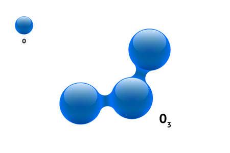 Chemistry model molecule ozone O3 gas scientific element formula.