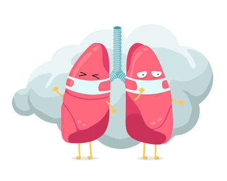 Cartoon lungs character with breathing hygiene mask on face and smoke or dust cloud. Human respiratory system lung internal organ mascot. Medical anatomy air pollution protection vector illusrtation