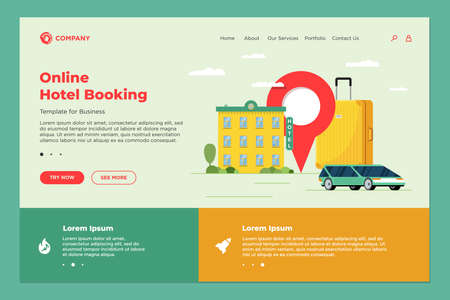 Hotel booking and car sharing online service for vacation tourism landing page template. Travel apartment transport reservation web design. Motel baggage suitcase and location pin vector illustration Vetores