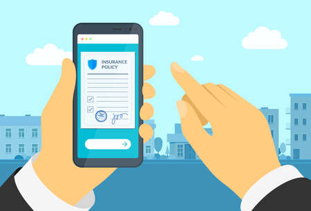 Man hand holding smartphone with insurance policy form. Online signs agreement protection document on mobile screen. Make deal compensation claim legal vector contract illustration