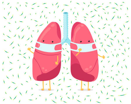 Cartoon lung character with breathing hygiene face mask and viruses infection around. Human internal organ prevents sick pneumonia tuberculosis airborne droplet. Medical protection vector illusrtation Vectores