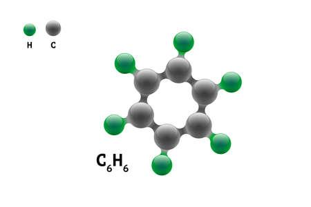 Formula di elemento scientifico del benzene C6H6 della molecola del modello di chimica. Composto di struttura molecolare di benzolo 3d inorganico naturale integrato. Sei sfere eps vettoriali di atomo di volume di carbonio e idrogeno