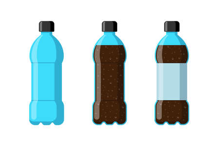 Plastic bottle set empty with soda beverage and label. Carbonated drink with bubbles in tare flat isolated vector illustration