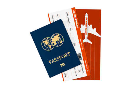 Passport with flight tickets. Personal identification document and airline boarding pass. Vector international tourism travelling isolated illustration concept