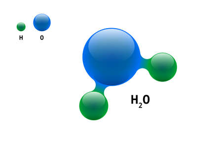 Chemistry model molecule water H2O scientific element formula. Integrated particles natural inorganic 3d molecular structure consisting. Two hydrogen and oxygen volume atom vector isolated spheres