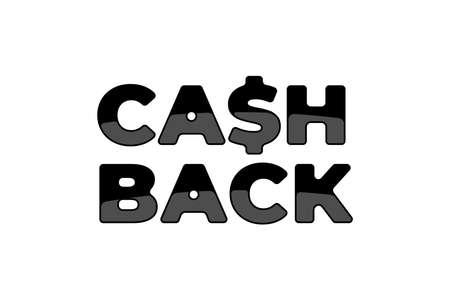 Cash back service sticker symbol template. Money refund cashback sign. Letter S like dollar black emblem vector isolated illustration Illusztráció