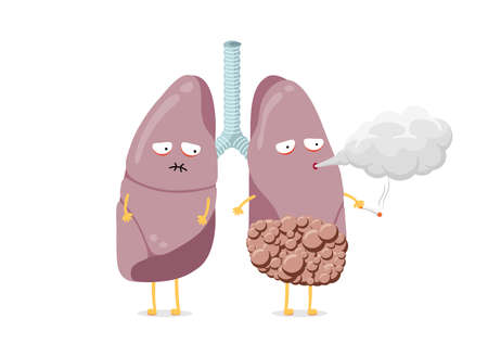 Unhealthy sick lungs cartoon character smoking cigarette. Human respiratory system internal organ with cancer blows smoke and having poor health. Bad dangerous habit addiction vector eps illustration