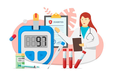 Doctor female with glucometer for measuring sugar level and diabetes medical diagnosis blank form. Diabetic blood glucose meter with pills and test tubes. Laboratory equipment and syringe illustration