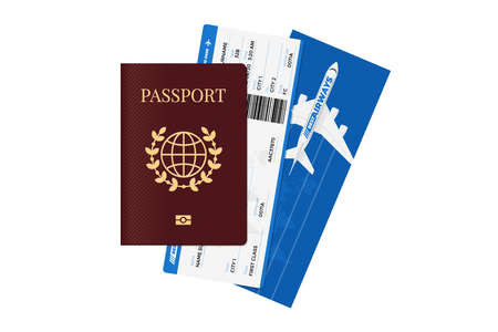 International passport with airway flight tickets. Personal identification document and airline boarding pass. Vector tourism travelling isolated illustration concept Foto de archivo - 141865653