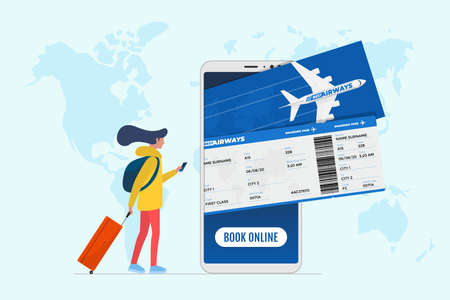 Online flight booking service concept. Young female tourist with suitcase luggage book airplane travel on smartphone. Plane ticket reservation and pay mobile app on world map vector illustration