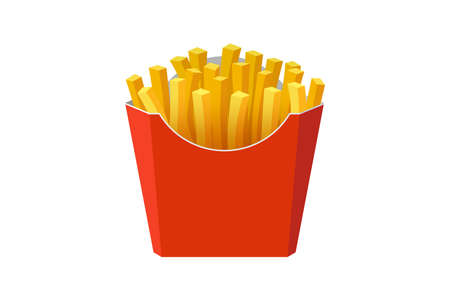 French fries potato tasty fast street food in red paper carton package box. Vector flat eps illustration isolated on white background