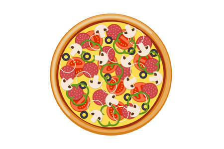 Pizza with sliced tomatoes mushrooms salami sausage onion bell pepper black olives and cheese. Italian fast food isolated vector illustration