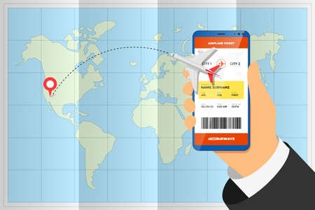 Hand holding smartphone with mobile application ordering flight ticket and airplane route on destination location pin above folded world map. Business tourism online boarding pass booking concept eps