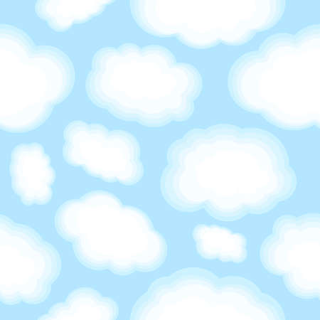 Cloud seamless pattern on light blue background. Vector illustration cute clouds for print wallpaper Illustration