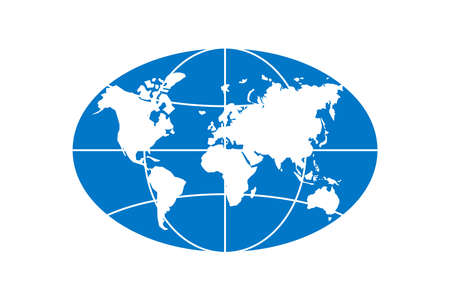 World planet map elongated circle ellipse blue icon. Globe earth continents vector oval isolated symbol