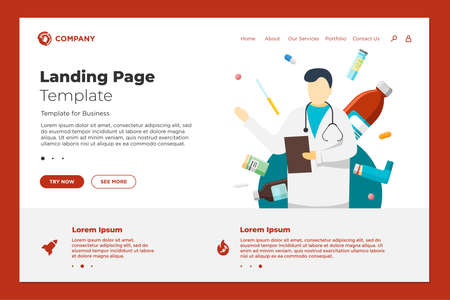 Health care online website landing page design template. Medical internet assistance. Male doctor consultant and medicine pills tablets drugs. Consulting pharmacy clinic service vector illustration