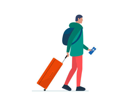Young man traveler walking with suitcase and flight ticket in airport. Male millennial with luggage bag and backpack go boarding to plane. Tourist passenger journey vacation vector illustration Ilustracja