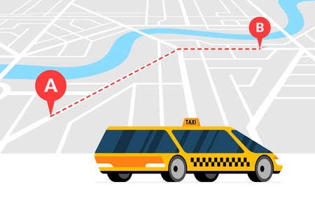 Taxi ordering and navigation service concept. A to B route with geotag gps location pin arrival address on isometric city map and modern yellow cab. Get taxicab flat vector illustration  イラスト・ベクター素材